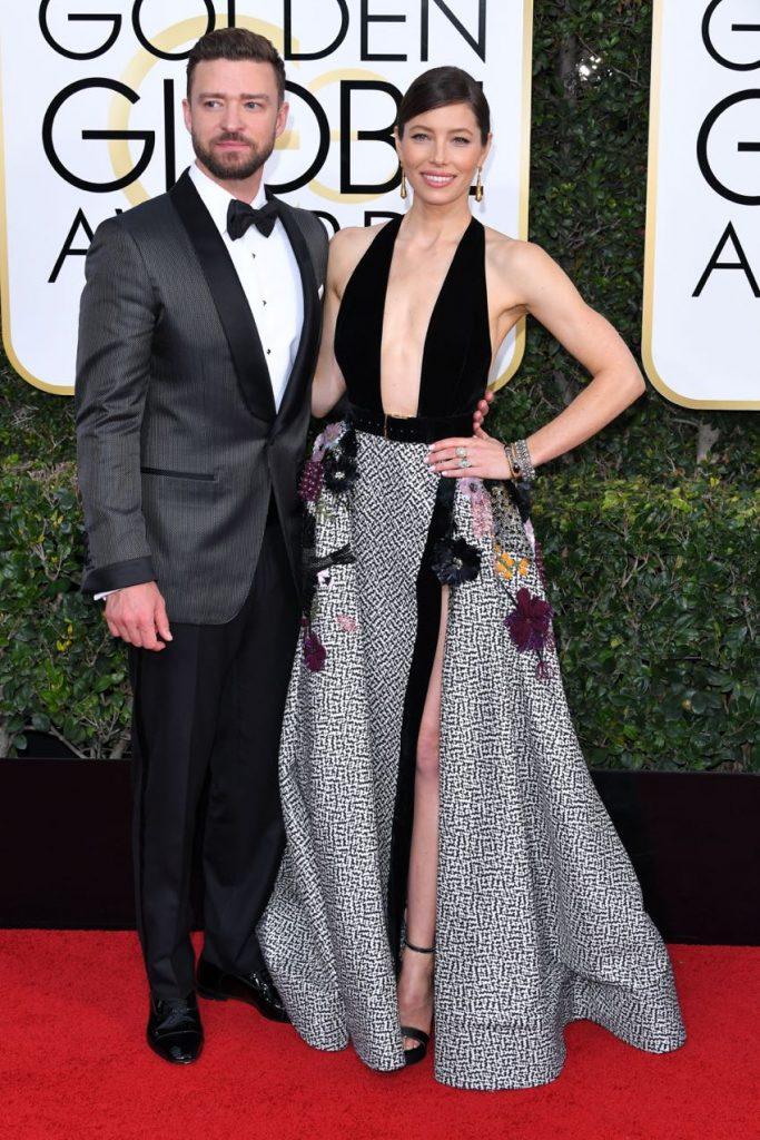 Justin Timberlake and Jessica Biel at 2017 Golden Globes